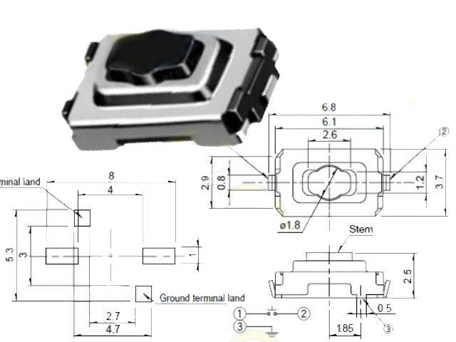 Bouton-poussoir miniature SW1000S612-NEW
